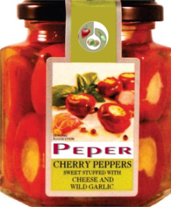 Red cherry peppers sweet with cheese & wild garlic