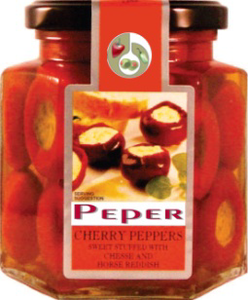 Red cherry peppers sweet with cheese & horse reddish
