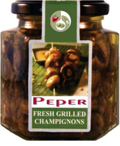 Fresh grilled champignons